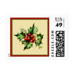 Red & Green Holly Christmas Holiday Postage Stamp Stamps
