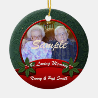 Red Green Holly In Loving Memory Christmas Double-Sided Ceramic Round Christmas Ornament