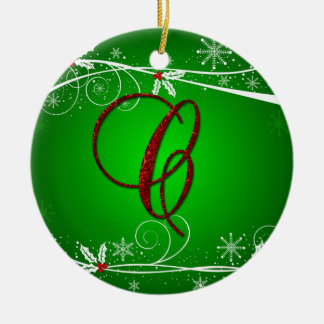 Red Green Holly Initial C Christmas Ornament