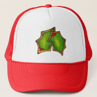 Red Green Holly Leaf Christmas Xmas Holiday Cookie Trucker Hat