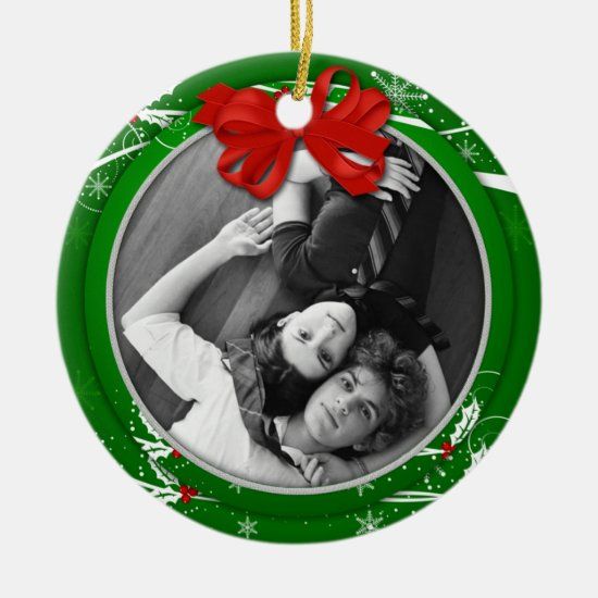 Red Green Holly Ribbon 1st Christmas Photo | Ceramic Ornament