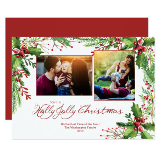Red Green Holly Watercolor Two 2 Photo Christmas Card