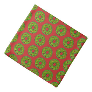 Red Green Holly Wreath Xmas Christmas Holiday Bandana