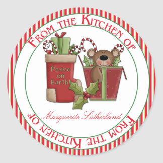 Red Green Homemade Christmas From the Kitchen of Round Stickers