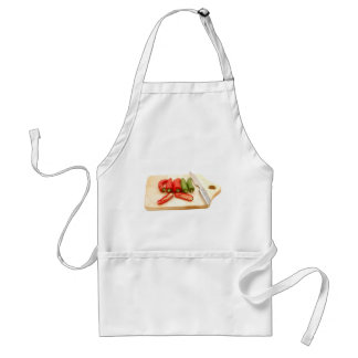 Red green knife adult apron