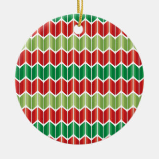 Red Green Large Knit Ceramic Ornament