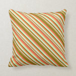 [ Thumbnail: Red, Green, Light Cyan & Tan Colored Pattern Throw Pillow ]