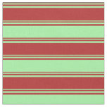 [ Thumbnail: Red & Green Lines/Stripes Pattern Fabric ]