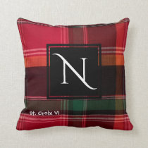 Red Green Madras Plaid Monogram N Throw Pillow