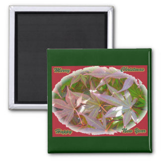 Red Green Maple Leaves Christmas New Year Magnet