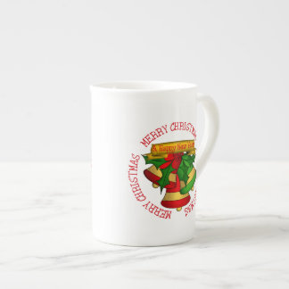 Red | Green Merry Christmas Bells Tea Cup