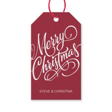 Christmas Themed Red & Green Merry Christmas Gift Tags