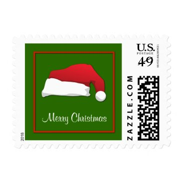 Aztec Themed Red & Green  Merry Christmas Santa Hat Postage