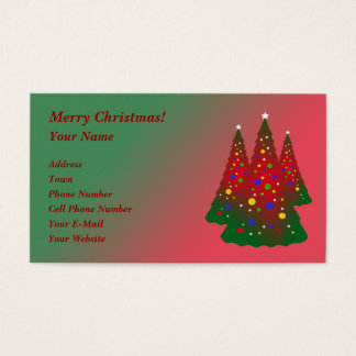 Red Green Merry Christmas Tree Business Card