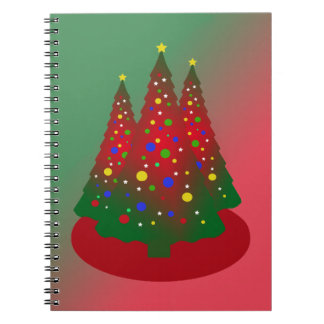Red Green Merry Christmas Tree Notebook