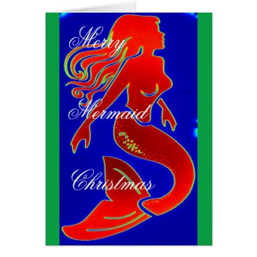 Beach Themed red/green Merry mermaid Christmas Card