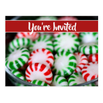 Red & Green Mints Christmas Party Postcard Invite