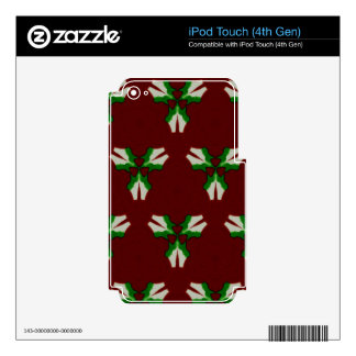 Red Green Modern Artistic Holiday Mistletoe iPod Touch 4G Decal