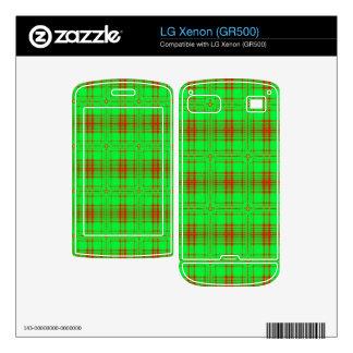 red green modern plaid pattern decals for LG xenon