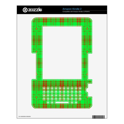 red green modern plaid pattern skin for kindle 2