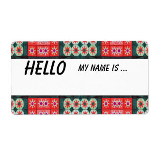 Red Green Name Badge Label