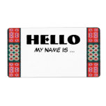 Red Green Name Badge Personalized Shipping Label