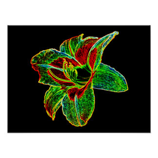 Red/Green Neon Daylily Poster