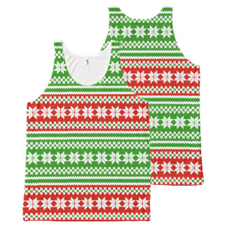 Red Green Norwegian Christmas Sweater Pattern All-Over-Print Tank Top