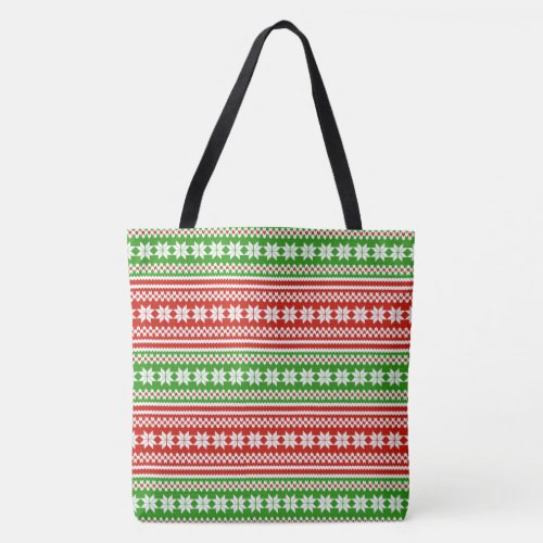 Red Green Norwegian Christmas Sweater Pattern Tote Bag