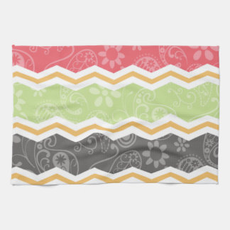 Red, Green, Orange, and Gray Paisley Chevron Towels