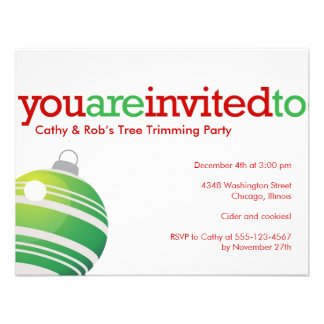 Red green ornament Christmas holiday custom party Personalized Invitation
