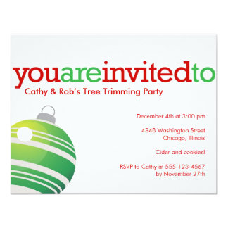 Red green ornament Christmas holiday custom party 4.25x5.5 Paper Invitation Card