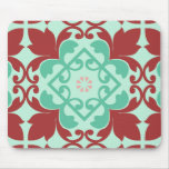 Red Green Ornamental Flourish Pattern Mousepads