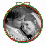 Red & Green Our First Christmas Ornament Photo Cut Out