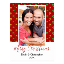 Red & Green Palm Tree Tropical Christmas Photo Postcard