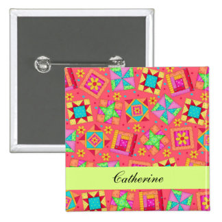 Red Green Patchwork Quilt Blocks Name Badge 2 Inch Square Button