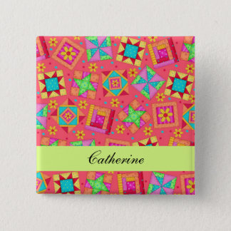 Red Green Patchwork Quilt Blocks Name Badge Button