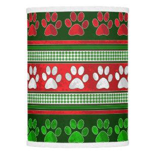 Christmas holiday lamp shades zazzle red green paw print pattern holiday lamp shade aloadofball Choice Image