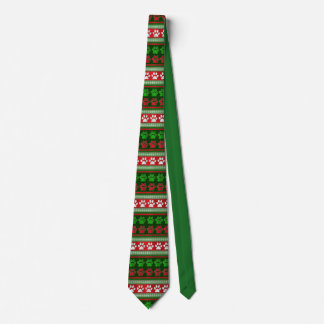 Red green paw print pattern holiday necktie