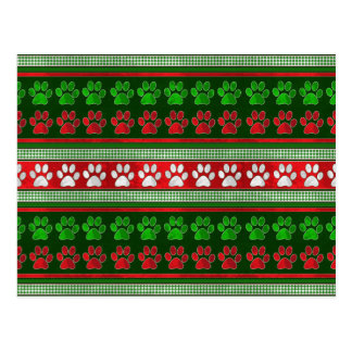 Red green paw print pattern holiday postcard