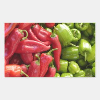 Red & Green Peppers Rectangular Sticker