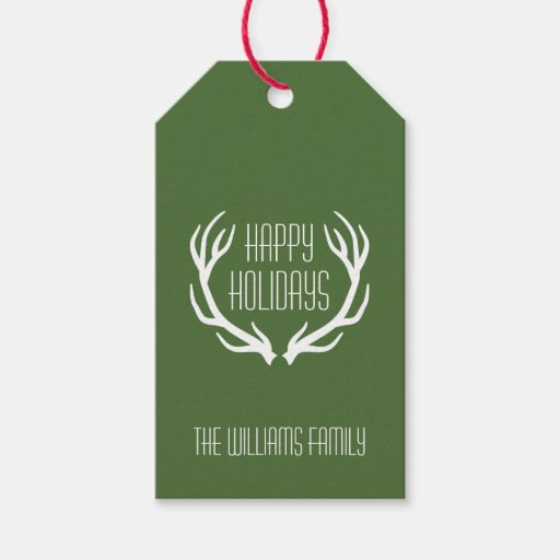 Red & Green Personalized Rustic Happy Holidays Pack Of Gift Tags