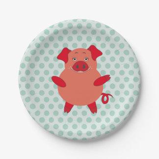 Red & Green Piggy Polkadots Paper Plate