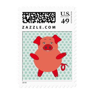 Red & Green Piggy Polkadots Stamp