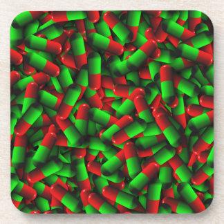 red green pills drugs beverage coaster