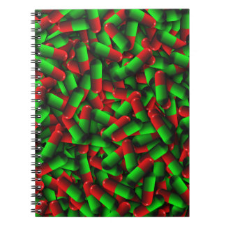 red green pills drugs notebook