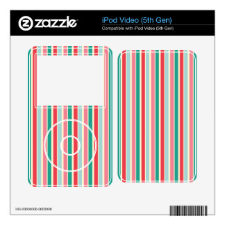Red, Green, Pink and Blue Stripes iPod Video 5G Skins
