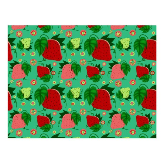 Red Green Pink Strawberries Postcard