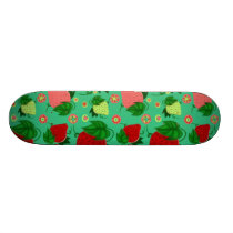 Red Green Pink Strawberries Skateboard