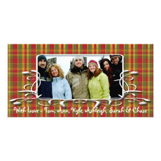 Red Green Plaid Antique Frame Holiday Family Photo Photo Card